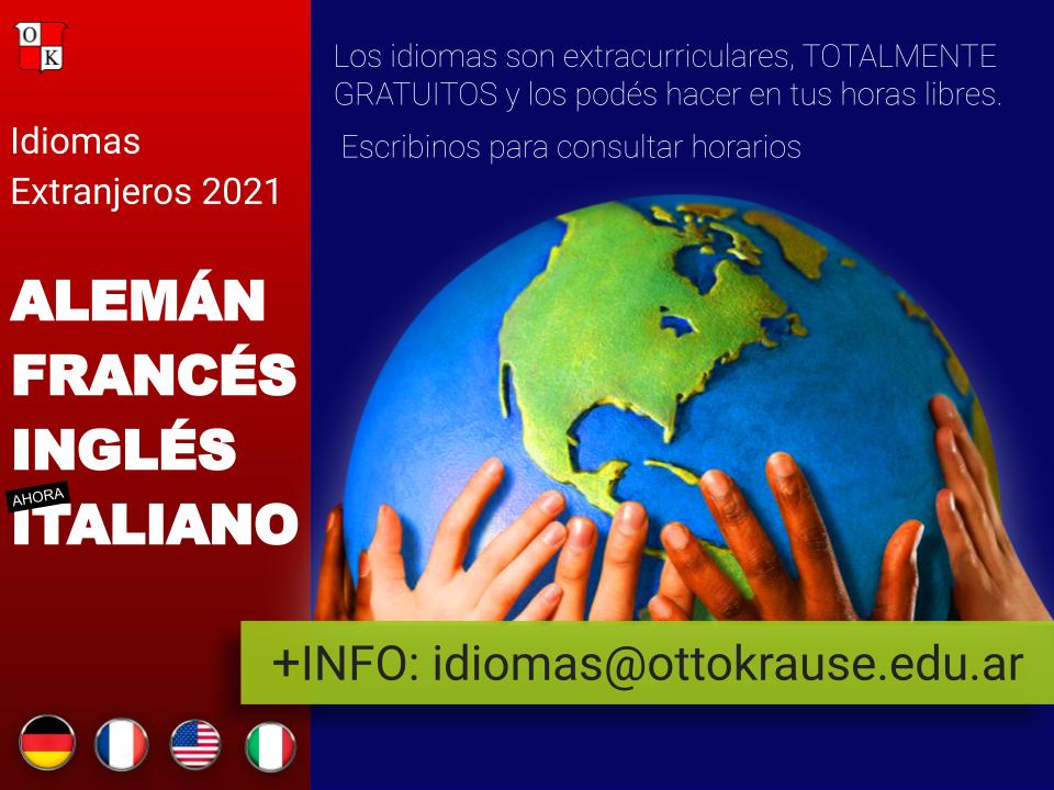 Inscripción a Idiomas Extranjeros 2021_ ALEMÁN, FRANCÉS, INGLÉS (CLE)